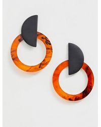 ASOS - Earrings In Matte Black And Tortoiseshell Resin - Lyst