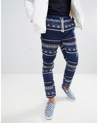 ASOS - Festival Tapered Trousers In Blue Aztec Jacquard With Elasticated Waist - Lyst