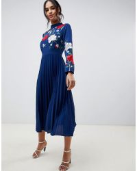 ASOS - Pleated High Neck Midi Dress With Embroidery - Lyst