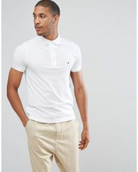 Tommy Hilfiger - Slim Fit Polo In White - Lyst
