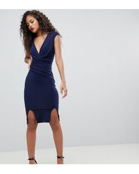 Flounce London - Wrap Front Bodycon Midi Dress With Double Splits - Lyst