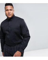 ASOS | Plus Stretch Slim Shirt In Black | Lyst