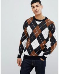 New Look - Argyle Jumper With Crew Neck In Navy - Lyst
