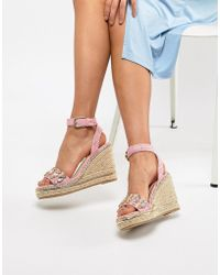 River Island - Wedges With Embellished Front - Lyst