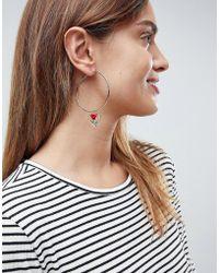 ASOS - Asos Enamel Rose Heart Hoop Earrings - Lyst