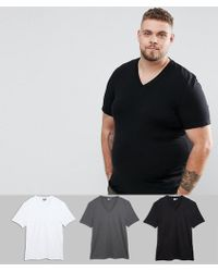 ASOS - Plus Muscle Fit V Neck T-shirt 3 Pack Save - Lyst