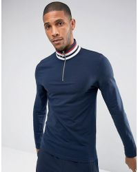 ASOS DESIGN - Asos Muscle Long Sleeve T-shirt With Retro Stripe Rib And Zip Neck - Lyst
