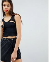 Liquor N Poker - Denim Bralet With Cut Out Detail - Lyst