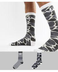 1e5577ec9067a adidas Originals - 2 Pack Camo Crew Socks In Multi Dh1021 - Lyst