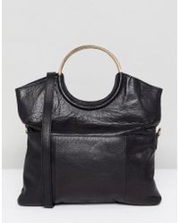 Urbancode - Leather 2 Way Flapover Clutch With Ring Handles - Lyst
