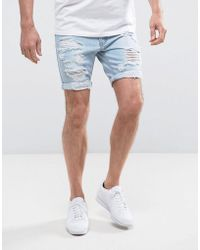 Liquor N Poker - Relaxed Denim Short Rips Light Wash - Lyst