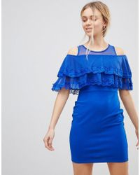 Girls On Film - Cold Shoulder Midi Dress With Tipped Frill - Lyst