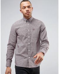 Fred Perry - Shirt In Slim Fit Gingham Mahogany - Lyst