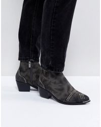 Pieces - Studded Ankle Boots - Lyst