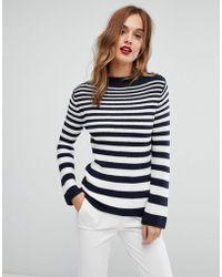 Warehouse | Graduated Stripe Shoulder Button Jumper | Lyst