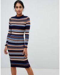 Oasis - Knitted Midi Dress In Stripe - Lyst
