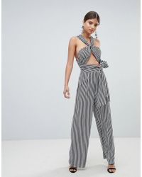 Missguided - Multiway Wide Leg Striped Jumpsuit - Lyst