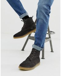 ASOS - Brogue Boots In Grey Suede With Natural Sole - Lyst