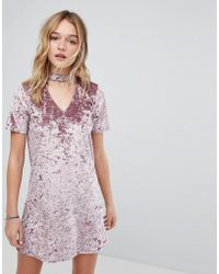 Hollister - Crushed Velvet Choker Dress - Lyst