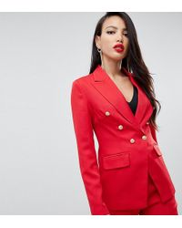 Missguided - Exclusive Tall Military Blazer In Red - Lyst