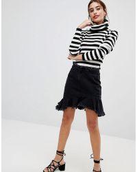 NA-KD - Raw Hem Slanting Frill Denim Skirt - Lyst