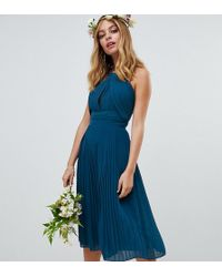 9e17abdd0b6d TFNC London - Pleated Bridesmaids Midi Dress In Petrol Blue - Lyst