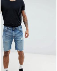 Lee Jeans - Cut Off Rider Short In Blue Damage - Lyst