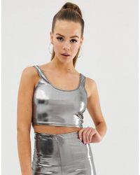 395eab5438 Fashionkilla Square Neck Micro Crop Top Two-piece In Ribbed Glitter ...