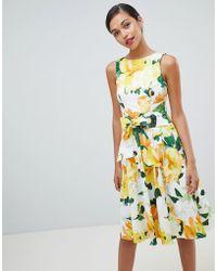 Coast - Harrison Printed Cotton Midi Dress - Lyst