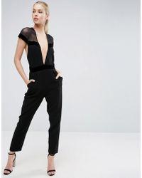 ASOS - Jumpsuit With Velvet Tux Plunge Detail - Lyst