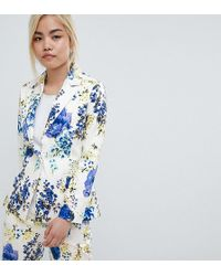 ASOS - Design Petite Tailored Floral Print Single Breasted Blazer - Lyst