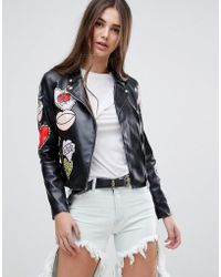 Glamorous - Badge Faux Leather Biker Jacket - Lyst