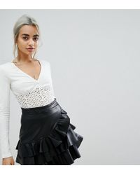 Lost Ink - Long Sleeve Body With Broderie Detail - Lyst