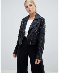 Forever Unique - Cropped Pu Embellished Jacket - Lyst