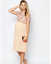 ASOS - Sequin Flower Embellished Midi Dress - Lyst