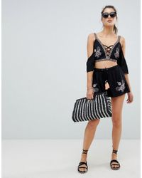 River Island | Embroiderd Beach Shorts | Lyst