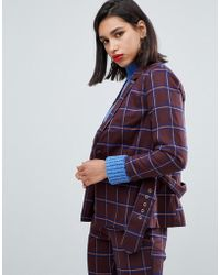 Y.A.S - Belted Check Blazer Co Ord - Lyst