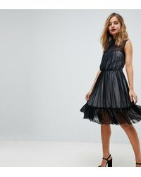John Zack - High Neck Tulle Mini Skater Dress With Contrast Lining - Lyst