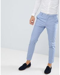 ASOS - Wedding Skinny Suit Trousers In Stretch Cotton In Dusky Blue - Lyst