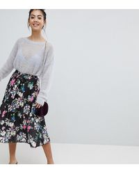 ASOS - Pleated Midi Skirt With Belt In Print - Lyst