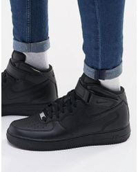 Nike - Air Force 1 Mid '07 Trainers In Black 315123-001 - Lyst