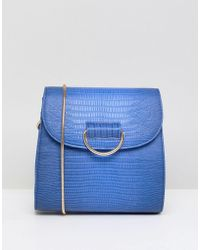 London Rebel - Blue Snake Print Across Body Bag With Gold Buckle Detail - Lyst