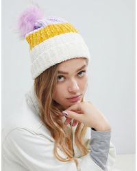 Pull&Bear - Chenille Bobble Hat With Faux Pom Pom - Lyst