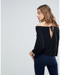 NYTT - Nina Open Back Brushed Off Shoulder Tiop - Lyst