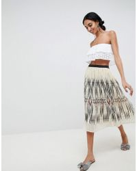 B.Young - Ikat Print Pleated Skirt - Lyst