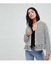 New Look - Peplum Hem Boucle Jacket - Lyst