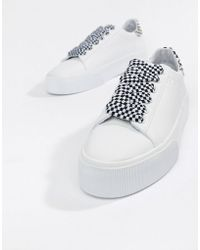 Pull&Bear - Check Lace Up Flatform Trainer In White - Lyst