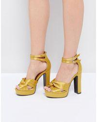 Glamorous - Yellow Double Strap Platform Heeled Sandals - Lyst