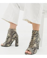 e8417dd3559 New Look - Lace Up Block Heeled Sandal In Snake Pattern - Lyst