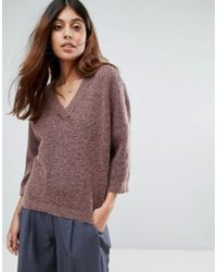 SELECTED - Liva Mohair Wool Blend 3/4 Sleeve Jumper - Lyst